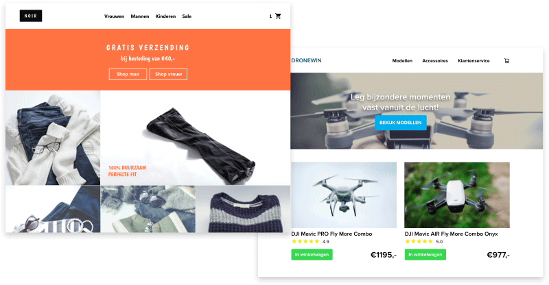A sample of the webshops launched with Webador